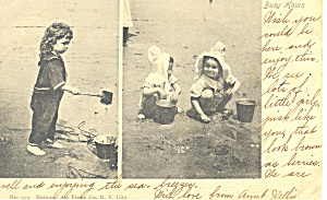 Little Girls on Beach  Postcard 1904 (Image1)