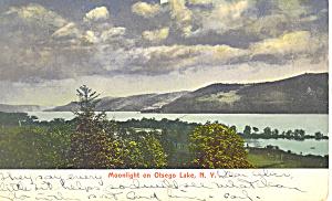 Moonlight on Otsego Lake NY  Postcard p17484 1906 (Image1)