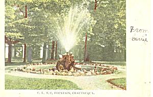 C L S C Fountain Chautauqua  NY  Postcard p17487 (Image1)