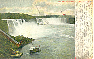 General View of Niagara Falls NY   Postcard 1908 (Image1)
