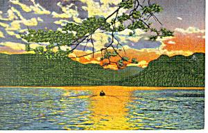 Sunset On Lake Lure Nc Postcard P17582
