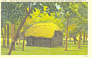 Hut Fort Raleigh Roanoke Island NC Postcard p17622 (Image1)
