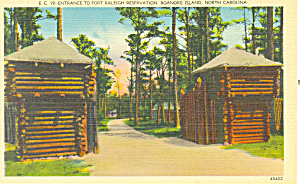 Entrance Fort Raleigh Roanoke Island Nc Postcard P17623
