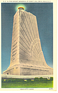 Wright Memorial at Night Kill Devil Hills NC Postcard p17626 (Image1)