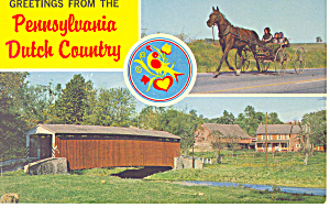 Old Covered Bridge,PA Dutch Country Postcard (Image1)