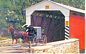 Old Covered Bridge and Amish Buggy,PA Postcard (Image1)