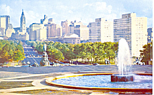 Ben Franklin Parkway Philadelphia PA Postcard p17758 1964 (Image1)
