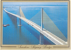 Florida Sunshine Skyway Bridge Postcard P1787