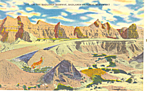 Badlands National Monument SD  Postcard p17899 (Image1)