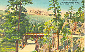 Pigtail Bridge,�Black Hills , SD,  Postcard 1943 (Image1)