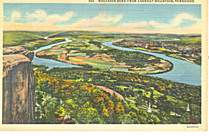 Moccasin Bend from Lookout Mountain TN Postcard p17988 1942 (Image1)