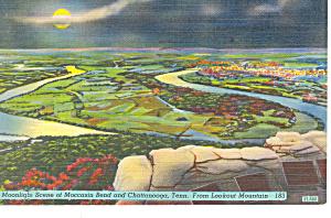 Moccosin Bend Lookout Mountain TN Postcard p18016 1950 (Image1)