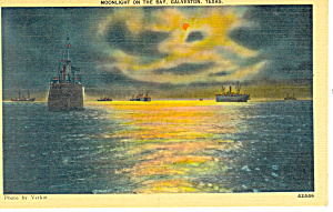 Moonlight on the Bay, Galveston,Texas Postcard (Image1)