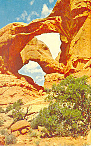 Double Arches, Arches National Monument,UT Pcard 1955 (Image1)