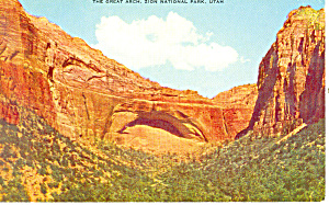The Great Arch Zion National Park UT Postcard p18139 (Image1)