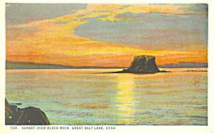 Black Rock Great Salt Lake UT Postcard p18146 (Image1)