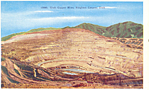 Copper Mine Bingham Canyon UT Postcard p18148 1956 (Image1)
