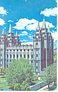 Mormon Temple  Salt Lake City UT Postcard p18155 1964 (Image1)