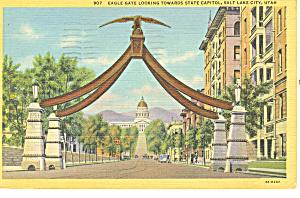 Eagle Gate Salt Lake City UT Postcard p18173 1945 (Image1)