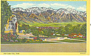 Wasatch Mountains Mormon Monument UT Postcard p18184 (Image1)