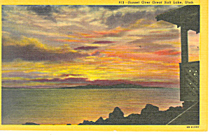 Sunset Over Great Salt Lake Ut Postcard P18186