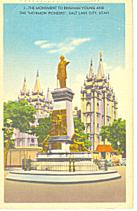 Pioneer Monument Salt City Lake  UT Postcard 1958 (Image1)