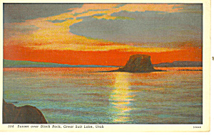 Sunset Over Black Rock,Great Salt Lake UT Postcard (Image1)