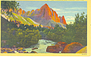 The Watchman Zion National Park UT Postcard 1944 (Image1)