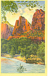 Three Patriarchs Zion National Park UT Postcard (Image1)