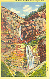 Bridal Veil Falls, Provo Canyon UT Postcard 1943 (Image1)