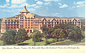 Hotel Roanoke, Roanoke VA Postcard 1962 (Image1)