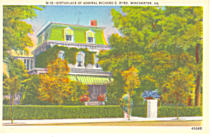 Birthplace Adm Byrd, Winchester,VA Postcard (Image1)
