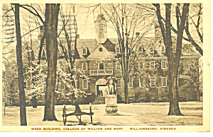 Wren Bldg College Of William And Mary Va Postcard P18385