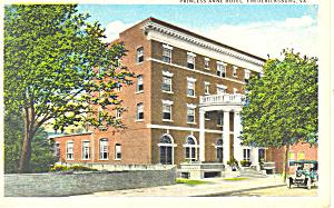 Princess Anne Hotel, Fredericksburg,VA Postcard (Image1)