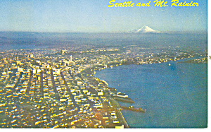 Seattle and Mt Ranier WA Postcard p18420 1961 (Image1)
