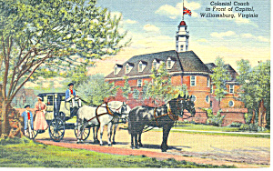 Colonial Coach, Willamsburg,VA Postcard 1948 (Image1)