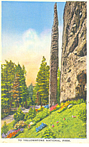Chimney Rock Cody Road WY Postcard 1939 (Image1)