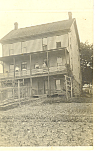 3 Story Home People On Porch Rppc Postcard P18491