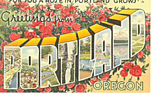 Greetings From Portland,OR Big Letter Postcard (Image1)