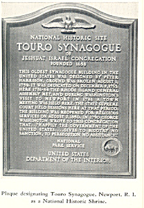 Plaque of Touro Synagogue, Newport, RI Postcard (Image1)