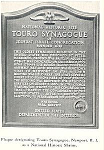 Plaque of Touro Synagogue Newport RI Postcard p18544 (Image1)