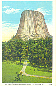 Devil s Tower Sundance WY Postcard p18553 (Image1)