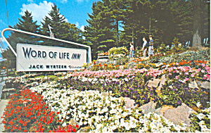 Entrance Word of Life Inn Schroon Lake NY Postcard p18594 (Image1)