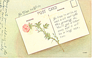 No Time To Write Postcard 1918