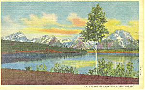 Teton Mountains and Jackson Lake, WY Postcard 1963 (Image1)