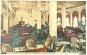 Main Lounge Hotel Dennis  Atlantic City NJ Postcard p18643 (Image1)