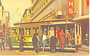 Cable Car On Turntable San Francisco Ca Postcard P18655