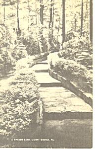 A Garden Path, Mt Gretna, PA Postcard 1950 (Image1)