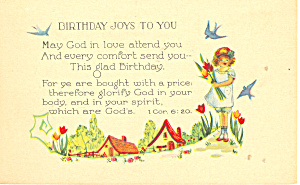 Birthday Joys to You, 1 Cor 6:20 Postcard (Image1)