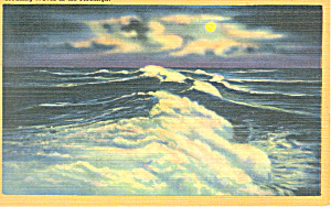 Breaking Waves In The Moonlight Postcard P18859